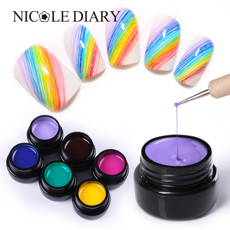 NICOLE DIARY 5ml Nail Spider Gel Painting Creative Nail Art UV Gel Wire Drawing Elasticity Point Line Soak Off Gel Spider Varnis