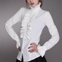 Moda vitoriana blusas femininas ol escritório senhoras camisa branca gola alta babados punhos camisas blusa feminina