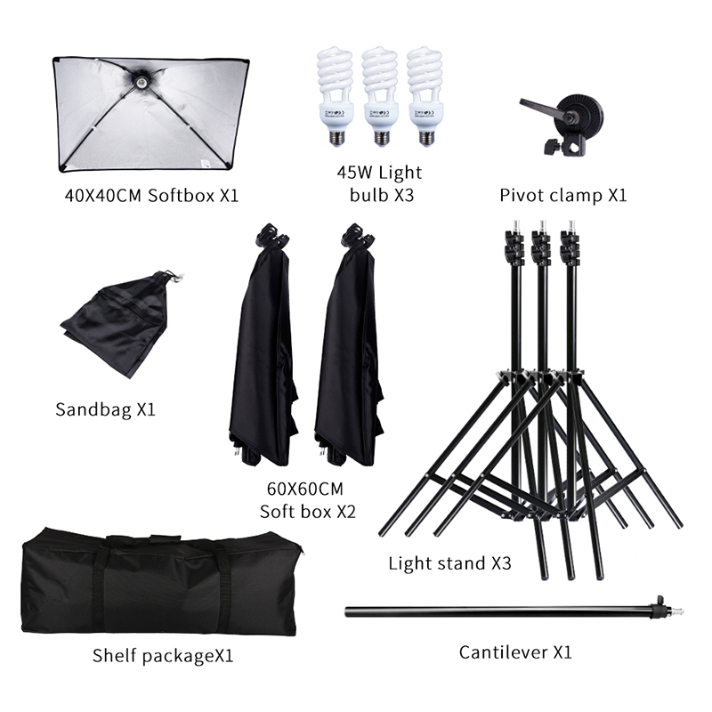 45W Photography Studio Lighting Kit with Arm Holder Photo Video Continuous Soft Box Lighting Set for YouTube Portrait Shooting 2