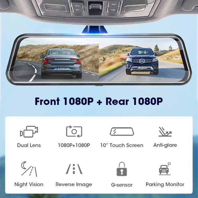 Jansite 10-inch Touch Screen 1080P Car DVR stream media Dash camera Dual Lens Video Recorder Rearview mirror 1080p Backup camera 1
