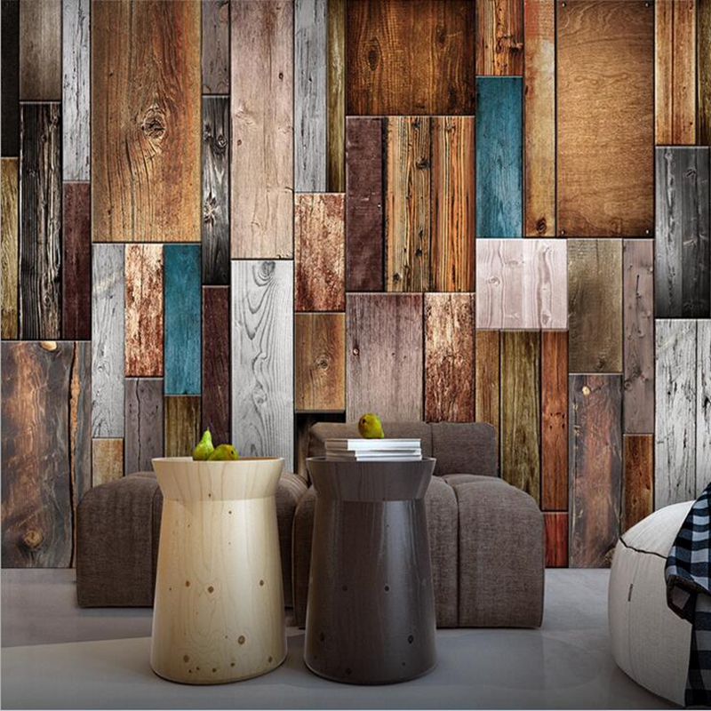 Wallpaper textured Non-Woven wall coverings Wood Planks Boards Horizontal brown