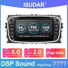 Isudar PX6 2 Din Android 10 Radio del coche para FORD/enfoque/S MAX/Mondeo/C MAX/Galaxy coche Multimedia reproductor de vídeo USB GPS DVR Cámara FM