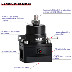 Image 5 - شحن مجاني AN8 منظم ضغط الوقود العالي ث/boost 8AN 8/8/6 EFI منظم ضغط الوقود مع مقياس WLR7855