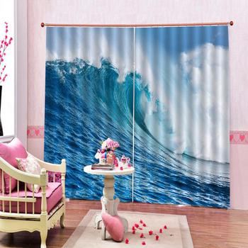 Customize Waves Flowing Water blackout Curtains for living room bedroom curtains Digital print