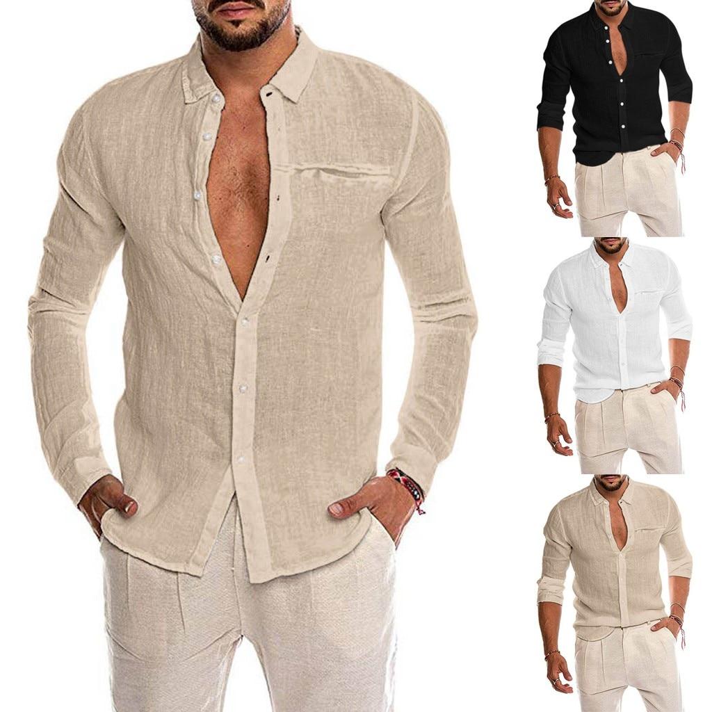 Autumn New Fashion Men's Loose Cotton Blend Solid Color Button Pocket Long Sleeve Shirt Tops Blouse Free Ship рубашка мужская Z4