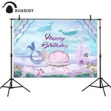 Allenjoy Русалка фон замок Коралловая жемчужина подводного моря 1-й День рождения заказной фон для профессиональной фотосъемки