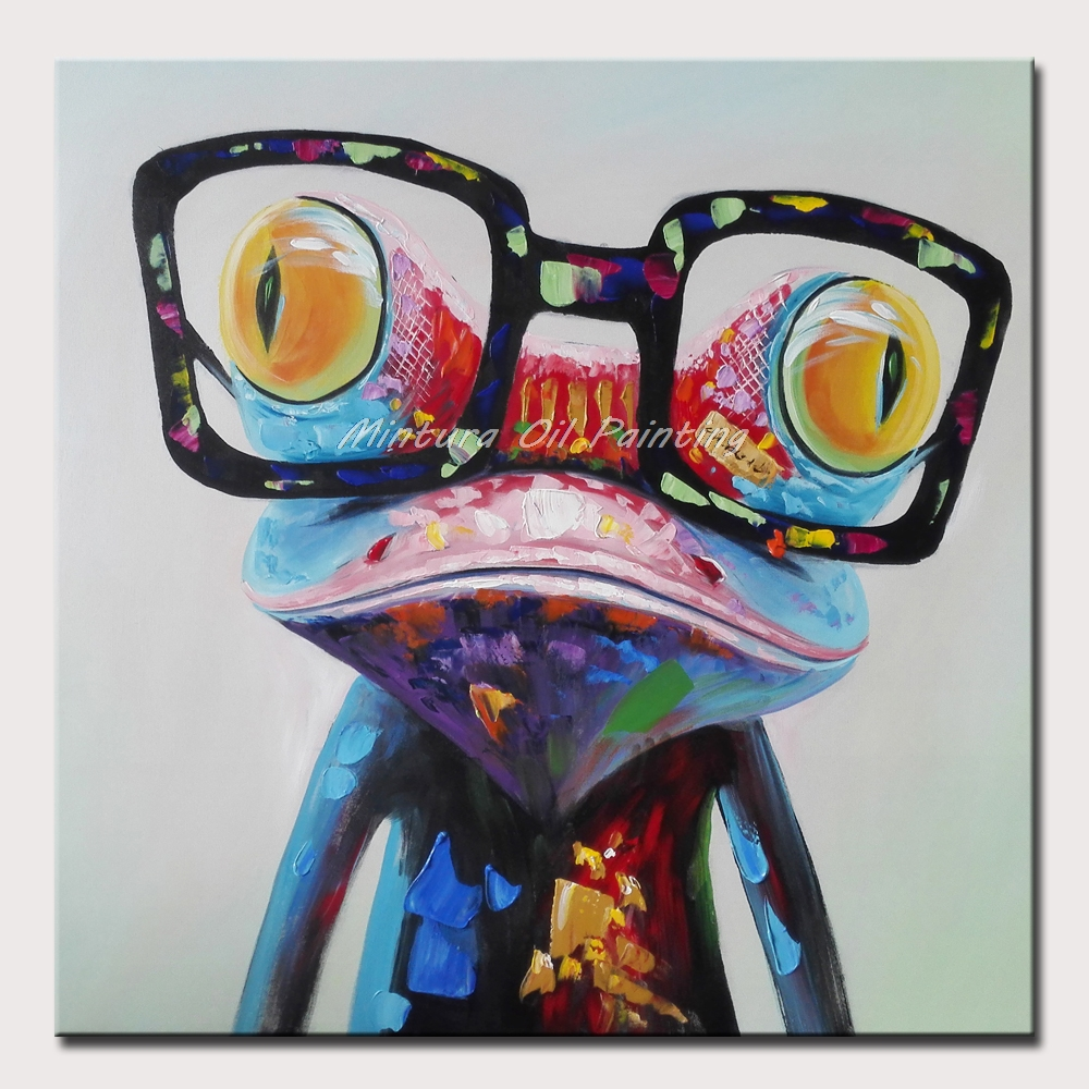 Wear Glasses Frog Hand Painted Abstract Cartoon Oil Painting On Canvas Wall Decoration For Baby Room Home Pop Art Animal Picture