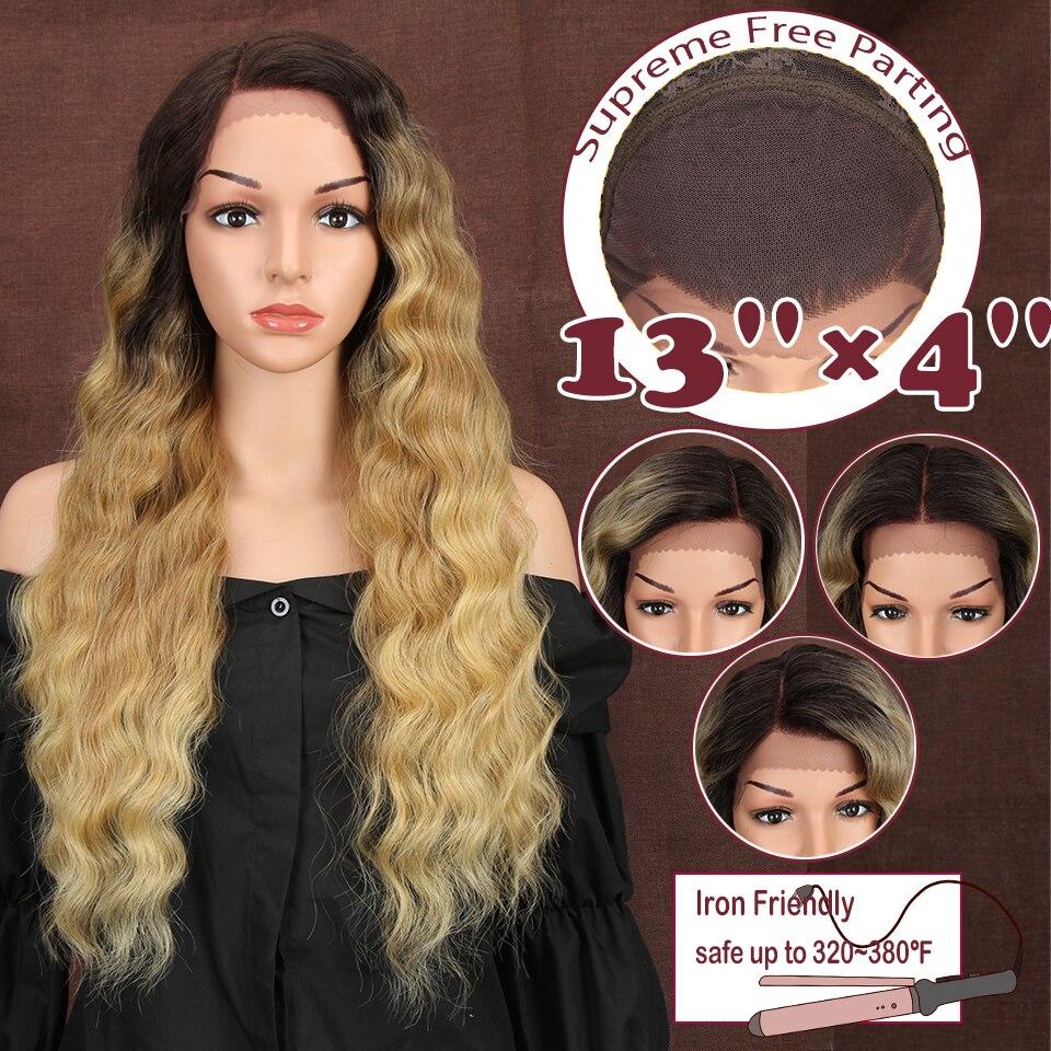 Magic Hair 13X4 libre séparation synthétique dentelle avant perruque pour les femmes noires 28