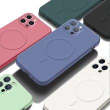Fivetech Vloeibare Siliconen Magnetische Case Voor Magsafe Iphone 12 Pro Max 12 Mini 12 Pro Telefoon Cover Shockproof Protective Back gevallen