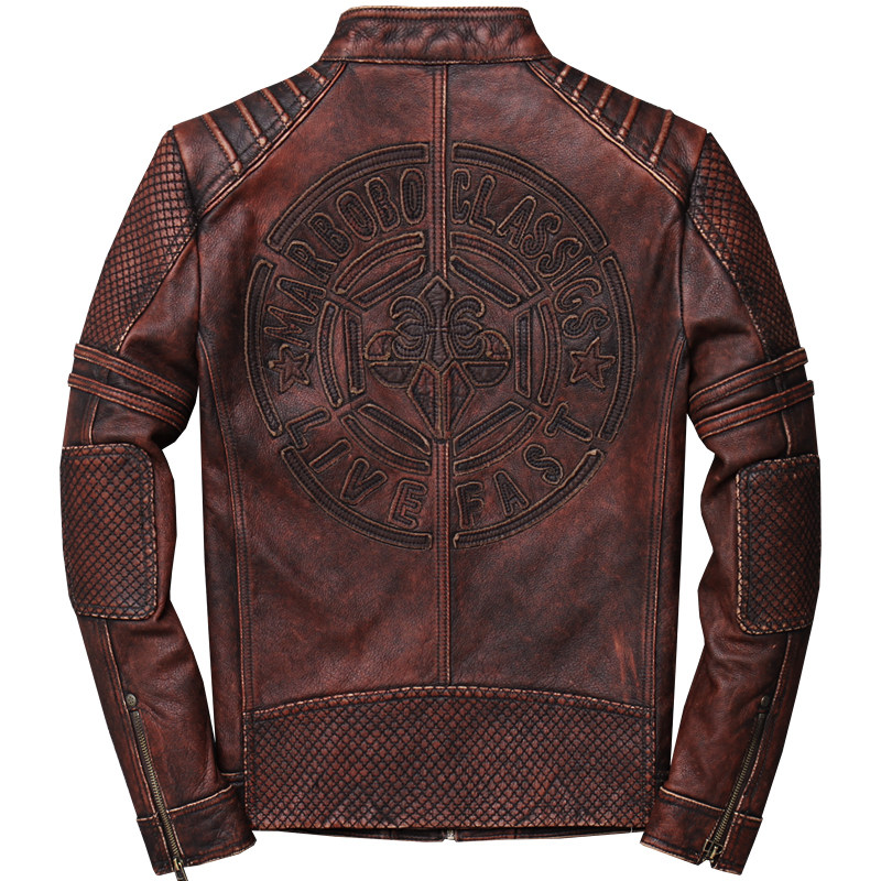 2019 Men's Genuine Leather Jackets Retro Motorcycle Leather Jacket Cowhide Slim Fit Leather Coat For Male