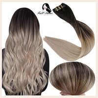 Brillo total Clip en extensiones de cabello humano Balayage Color degradado horquillas 7-10 Uds 100g de la trama doble de 100% máquina de pelo Natural Remy