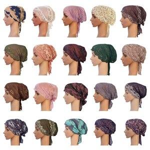 Image 1 - Flower Women Muslim Inner Cap Lace Head Wrap Cover Scarf Islamic Headwear Bonnet Hat Skullies Beanies Hair Loss Fashion
