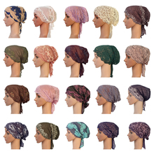 Çiçek kadınlar müslüman İç dantel başkanı Wrap kapak eşarp İslam şapkalar Bonnet şapka Skullies Beanies saç dökülmesi moda