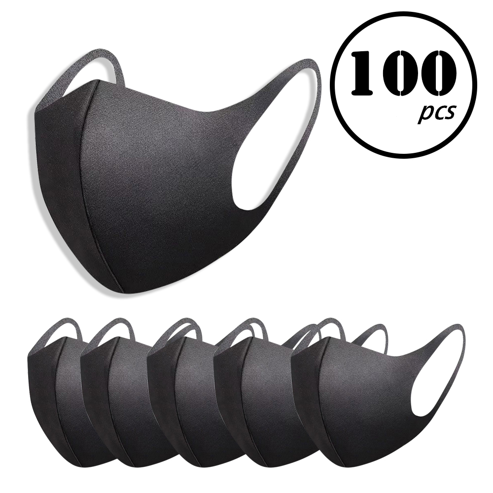 100/10 PCS Black Mask Two-layer Single-face Fleece Korean Version With Thick Dust-proof Riding To Keep Warm Men Women Mask