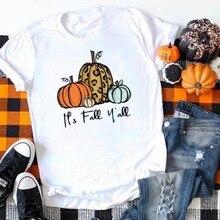 Its Fall Yall Shirt Pumpkin Tshirt Women Plus Size Halloween Tee for Womens Horror Squad Print Tops 2019 Thanksgiving