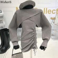 Woherb сексуальный комплект из двух предметов, женская трикотажная накидка + Плиссированное мини-платье без рукавов, новый стиль 2021, подходящи...