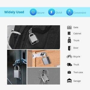 Image 3 - Smart Keyless Bluetooth Vingerafdruk Slot IP65 Waterdichte Cerradura Anti Diefstal Beveiliging Vingerafdruk Hangslot Deur Bagage Lock