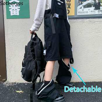 Jumpsuits Women Patchwork Pockets Sashes Chic Street Oversize 3XL Autumn Zipper Detachable Cargo Baggy Trousers Adjusted Strap 1