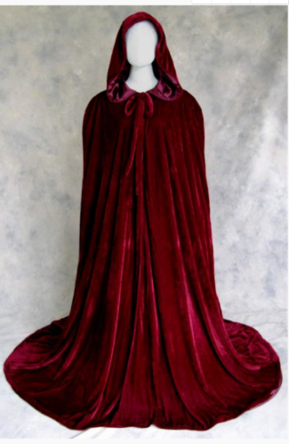 Wine red black velvet hooded cloak wedding cape Halloween wicca robe coat