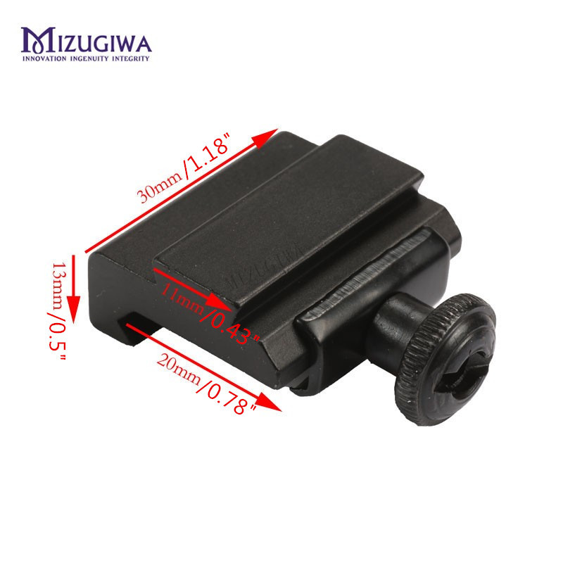 1 Pc MIZUGIWA Flat Top 20mm To 11mm Weaver Picatinny To Dovetail Rail Adapter Base Mount Long 30mm Rail Pistol Airsoft