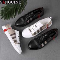 Mode hommes respirant Skateboard chaussures hommes mode baskets haute qualité formateurs chaussures décontracté en cuir véritable chaussures
