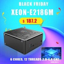 Intel xeon E 2186M/xeon 2*2666mhz ddr4 mini computador de mesa windows 10 pro uhd gráficos 630 hdmi mini dp 4k wifi bt