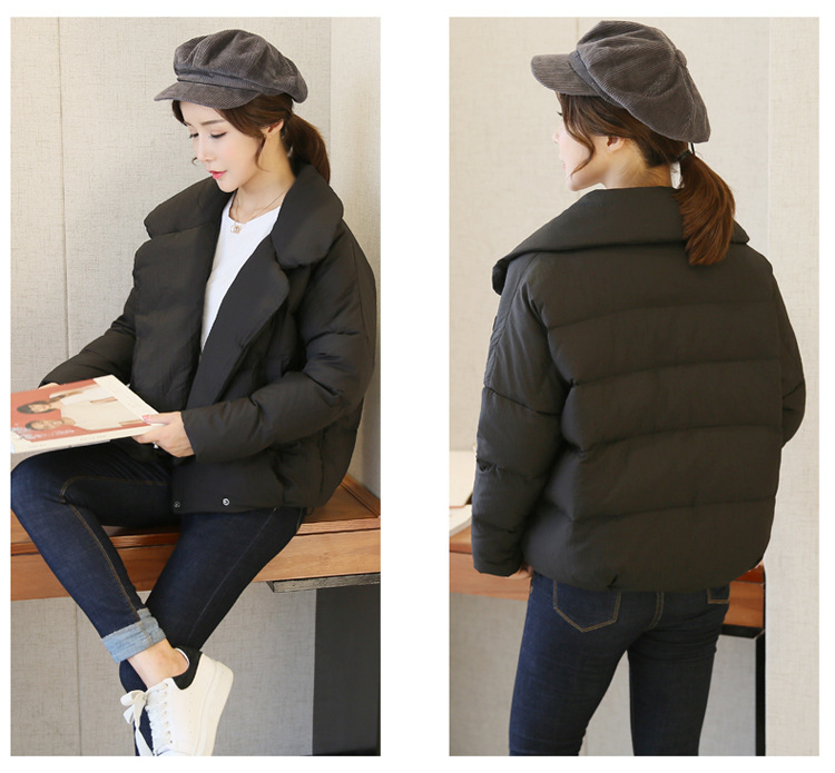 Autumn Winter Ladies' Duck Down Jacket New Fashion Short Turn Down Collar Female Bread Parkas Abrigos Mujer LX1040