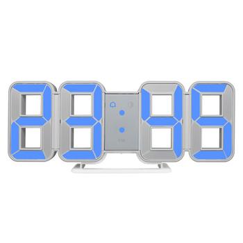 FanJu cyfrowy zegar 3D Alarm LED duży numer czasu miernik temperatury elektroniczny Backtlight stół ścienny biurko zegar do dekoracji domu tanie i dobre opinie CN (pochodzenie) Z tworzywa sztucznego LUMINOVA FJ3208 z podświetleniem 75mm DIGITAL Koreański GEOMETRIC Zegary biurkowe