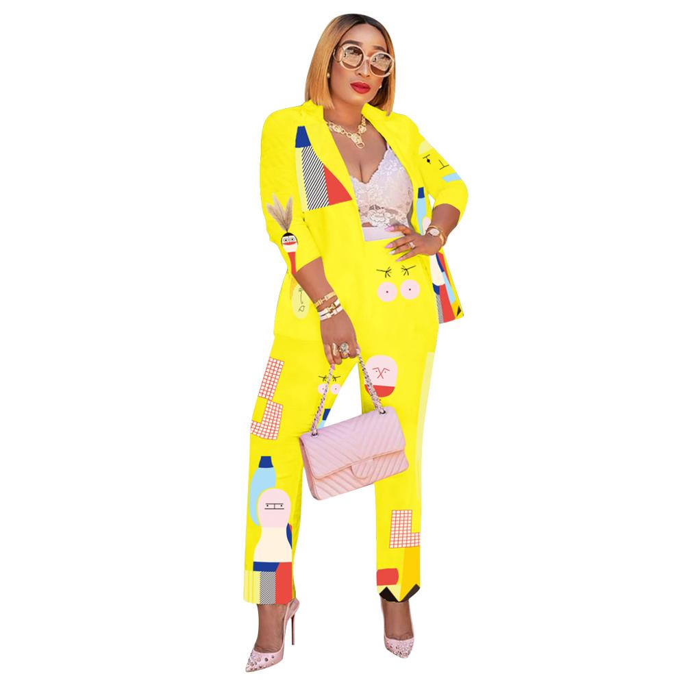 New Spring Autumn Tracksuit Long Sleeve Cartoon Print Blazers Pants Suit Two Piece Set Office Lady Outfit Uniform Women's Sets