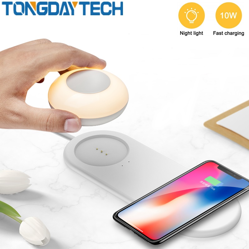 TONGDAYTECH LED Night Light LED Bedside Lamp With 2 In 1 Wireless Charging Multifunction Led Table Lamp For Mobile Phone Charge