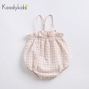 Koodykids/весенние Летние Боди для маленьких девочек; клетчатый жилет для маленьких девочек; Комбинезоны для маленьких девочек; Одежда для ново...