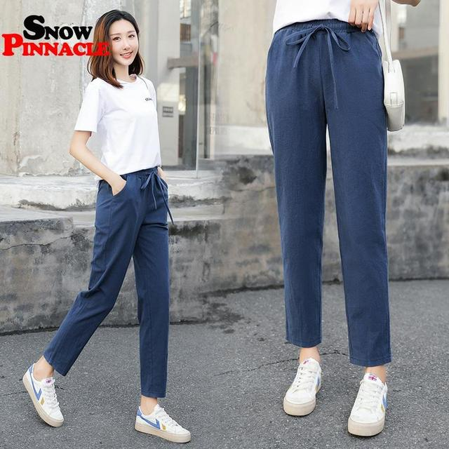 Womens Spring Summer Pants Cotton Linen Solid Elastic waist Harem Trousers Soft thin Female ladys trousers S-XXL 5