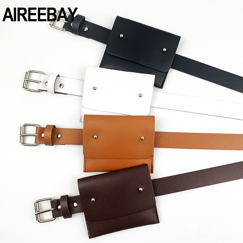 AIREEBAY 2020 New Women Belt Bag Leather Small Waist Bag Korean Style Fashion PU Coin Purse Bag Ladies Waist Belts