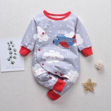 New Autumn Onesies Cartoon Cloud Print Fashion Long Sleeve Warm Lovely Baby Girls Boys 0-3T Cute Newborn Clothes