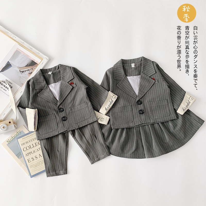 2019 Autumn New Handsome Suit Boys and Girls British Siblings Sets Clothing Toddler Brothers and Sister Outfit Fashion Clothes
