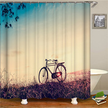 Solid Color Natural Scenery Bicycle Shower Curtain Polyester Fabric For Bathroom Waterproof Bath Screen Curtains Home Decoration natural sea rocks scenery print waterproof shower curtain