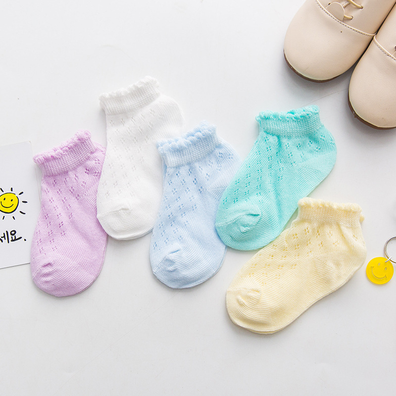 5 Pairs/Lot Baby Girls Socks Summer Mesh Cotton Thin 0-6Y Boys Socks Trendy Elastic White Lace Flowers Children Princess Socks