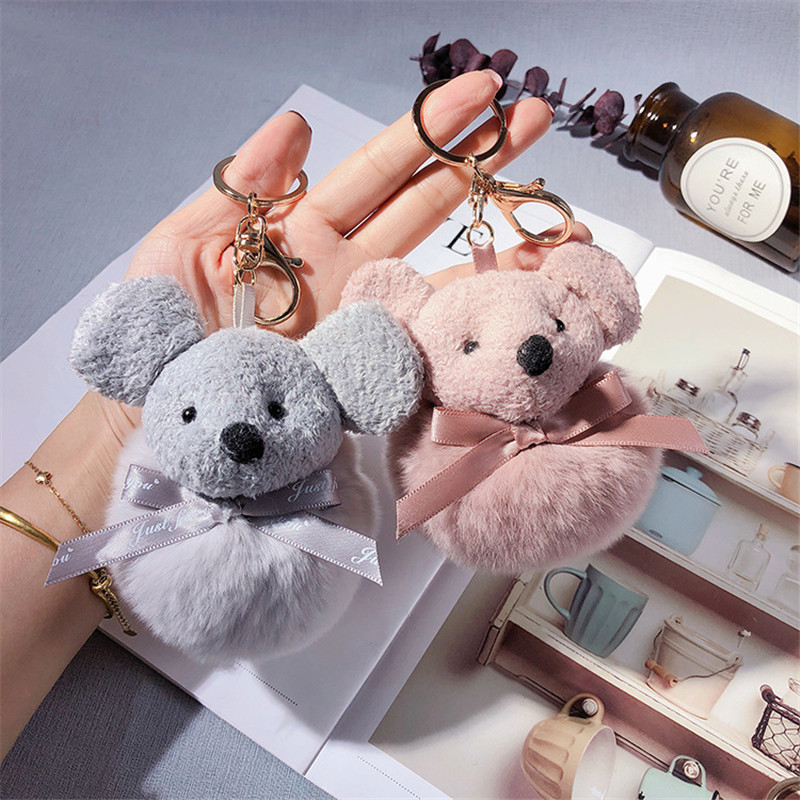 Cute Cartoon Plush Mouse Key Chain Animal Doll Rat Pompom Rabbit Fur Keychain Girl Bag Pendant Car Keyring Jewelry Party Gift