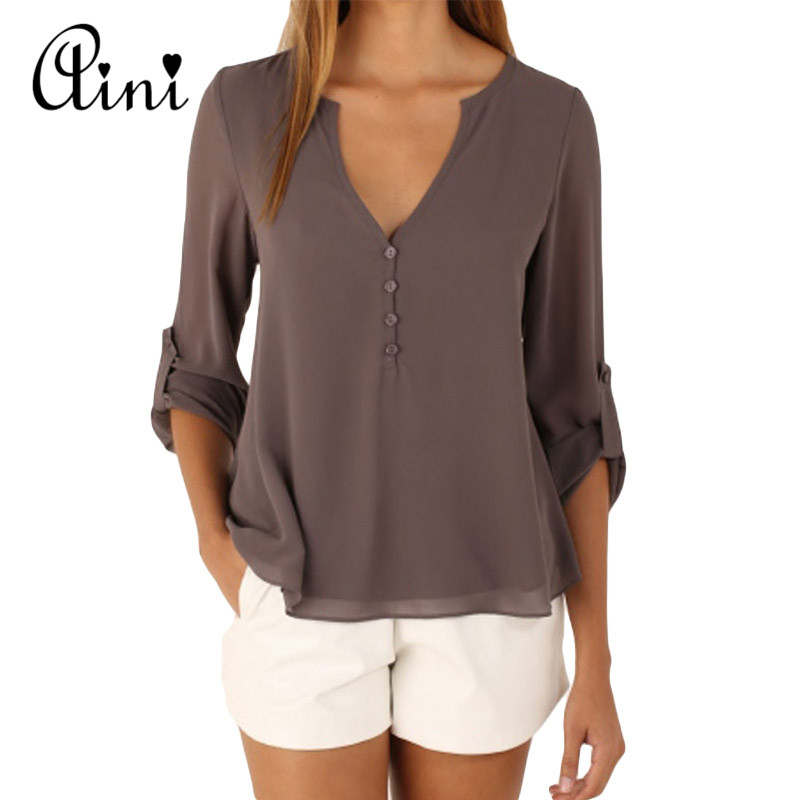 Plus Size 5XL Women Tops And Blouse Long Sleeve Solid V-neck Loose Chiffon Blouses 2019 Summer Top Boho Female Shirts Korean Top