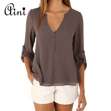 Plus Size 5XL Women Tops and Blouse Long Sleeve Solid V-neck Loose Chiffon Blouses 2019 Summer Top Boho Female Shirts Korean Top(China)