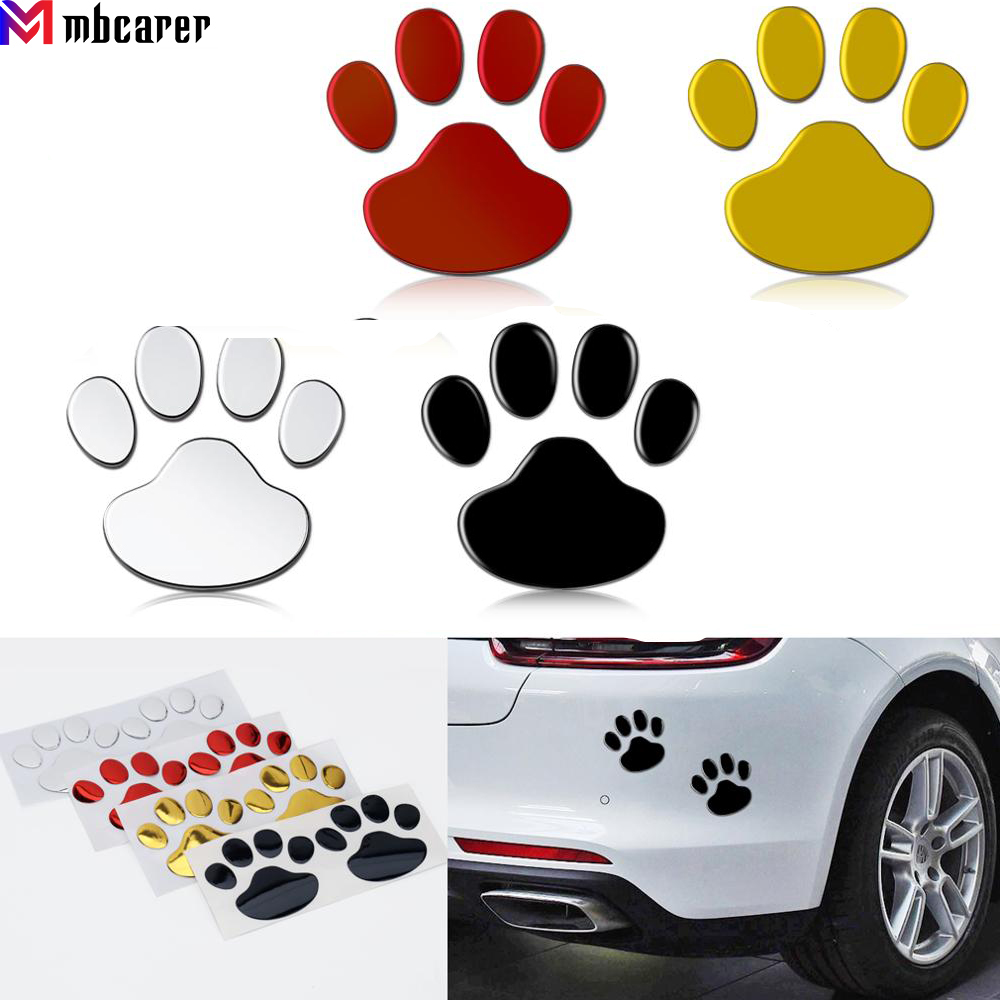 2Pcs/Set Car Stickers and Decals Paw 3D Animal Dog Cat Bear Foot Prints Footprint Decal Car Sticker Silver Red Black Golden