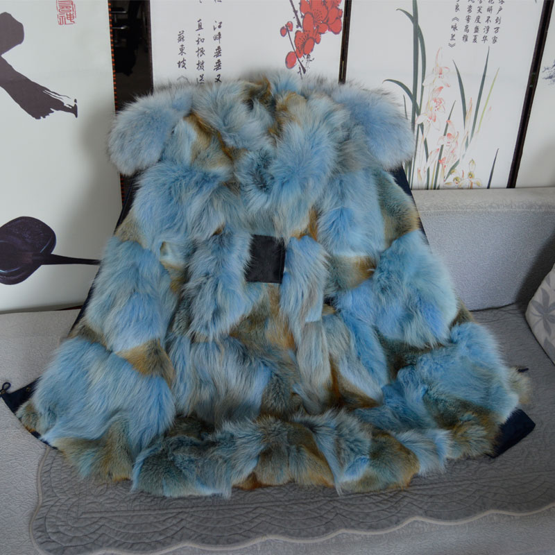 Navy Blue Coyote Fur Skyblue Men Real Fur Parka Meifng Brand Beads Fur Jacket