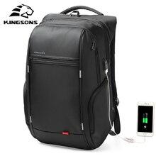 Kingsons 13インチ外部usb充電男性のバックパックコンピュータバッグの女性のバック防水盗難防止スクールバッグ