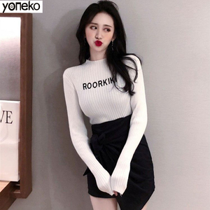 Knitted Sweater Spring Autumn Women's Sweater New Basic Elasticity Half High Collar Letter Bottoming Sweater Jumper Female KM635