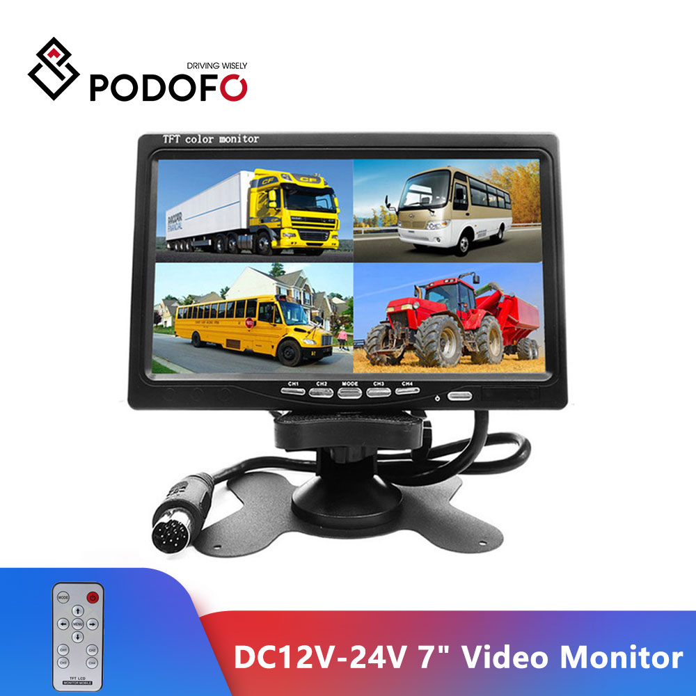 Podofo DC12V-24V 7inch LCD 4CH Video input Car Video Monitor For Front Rear Side View Camera Quad Split Screen 6 Mode Display