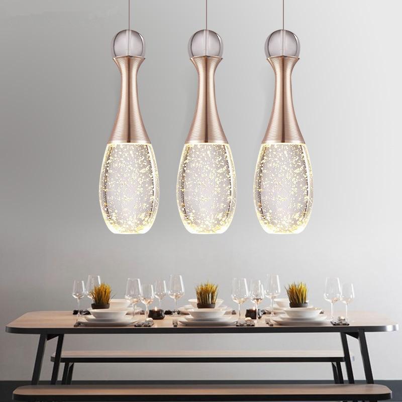 LukLoy Crystal Dinning Room Pendant Light Restaurant Suspension Lamp Modern Bedroom Living Room Decoration 3heads Pendant Lamp