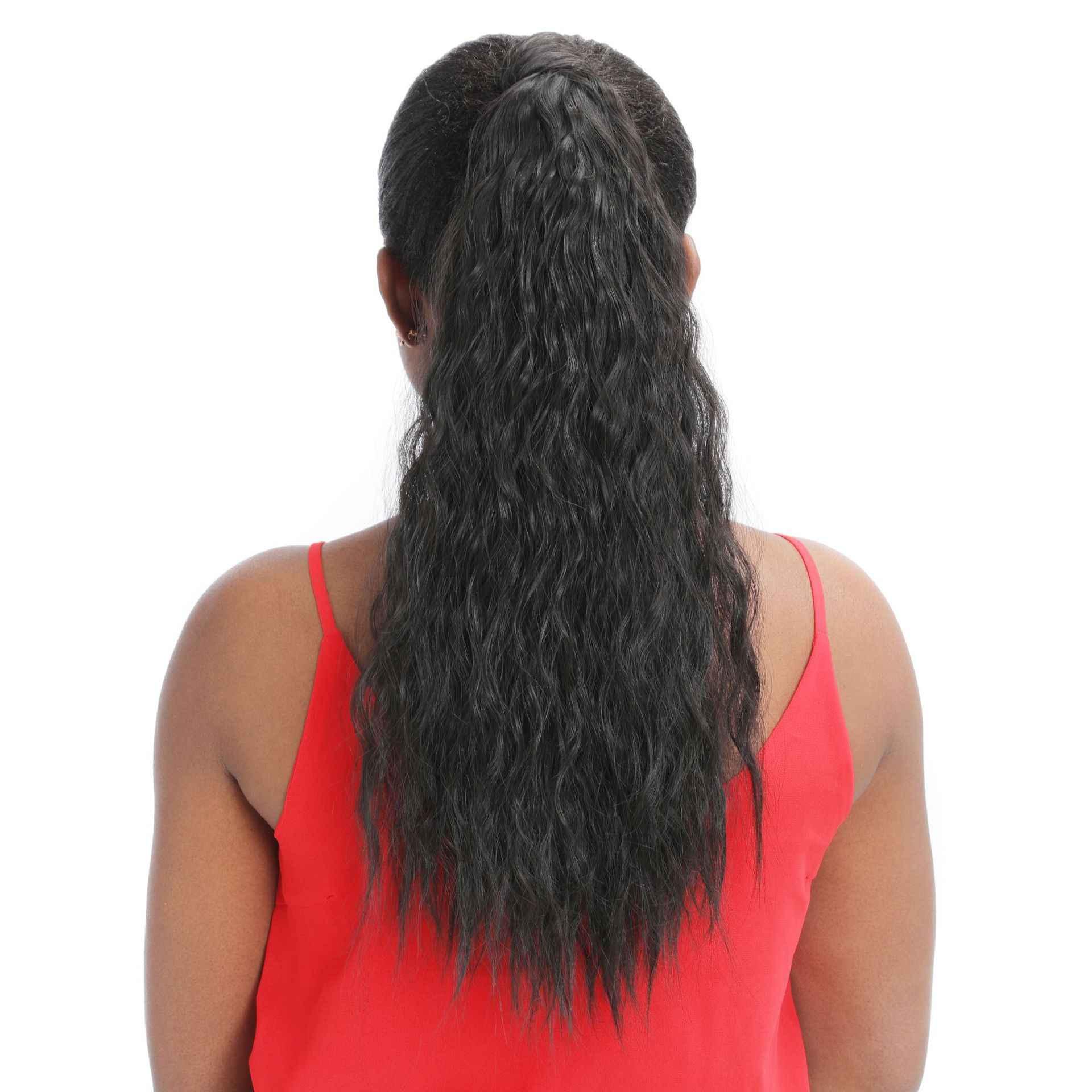 Corn Curly Wellenförmige Lange Kordelzug Pferdeschwanz Ombre Braun Pony Schwanz Blonde Fack Haar Synthetische Haarteil Wrap auf Clip Haar Extensions