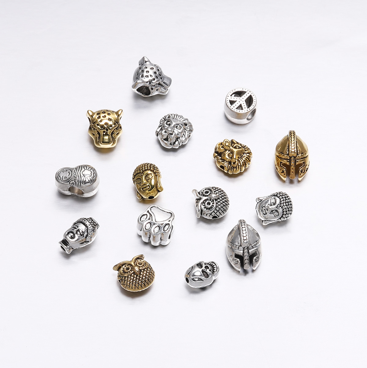 10pcs/lot Antique Gold/Silver Animal Shape Metal Lion Sparta Buddha Leopard Heads Spacer Bezels Beads Supplies For DIY Jewelry