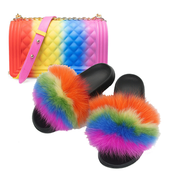 Fur Slides and Purse Set Girl's Fluffy Rainbow Slippers Women Shoulder Jelly Bags Mixed Color Amazing Shoes - discount item  44% OFF Women's Shoes