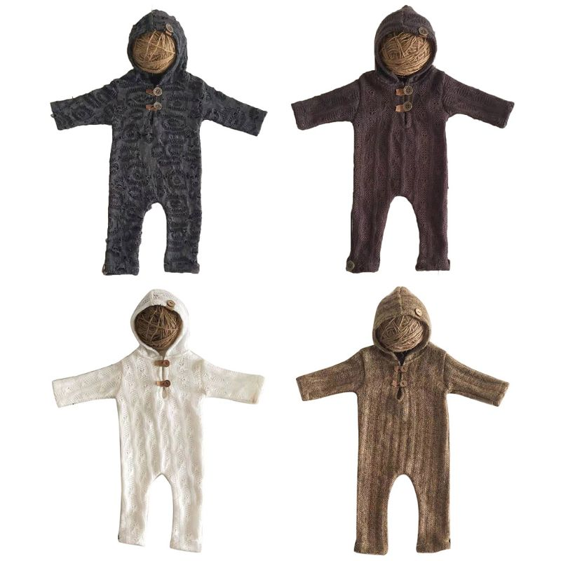 Newborn Button Top Hooded Style Photography Props Stylish Suit Romper With Hat Long Sleeve Jumpsuits Bodysuit